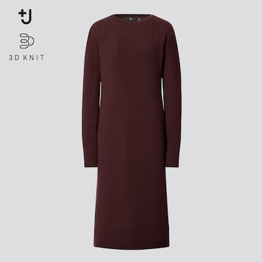 Women +J 3D Knit Seamless Extra Fine Merino Ribbed Dress