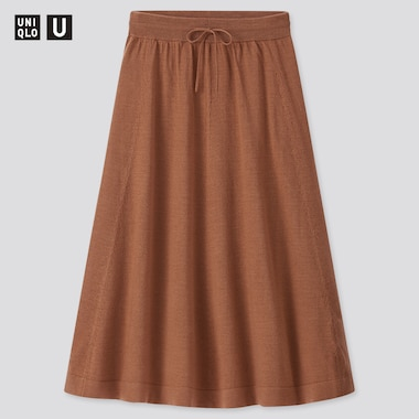 Women Uniqlo U Merino Blend Flared Skirt