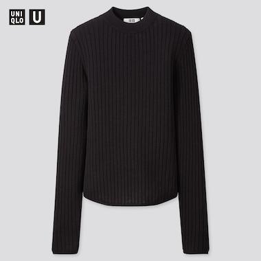 Women U Extra Fine Merino Ribbed Crew Neck Sweater, Black, Medium