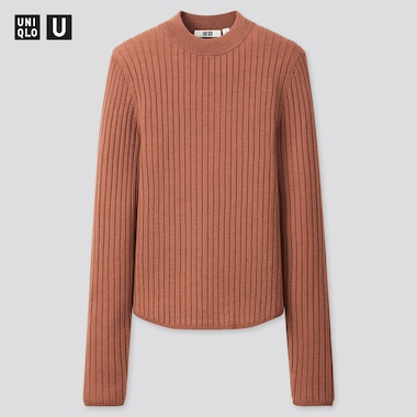 Women Uniqlo U Extra Fine Merino Ribbed Crew Neck Jumper