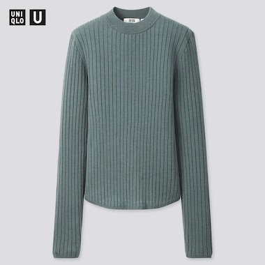 Women U Extra Fine Merino Ribbed Crew Neck Sweater, Blue, Medium