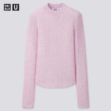 Women U Extra Fine Merino Ribbed Crew Neck Sweater, Light Purple, Medium