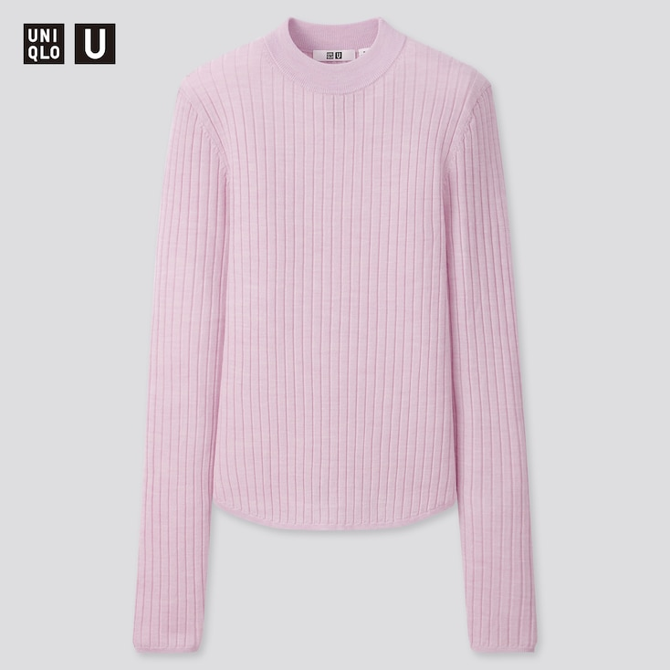 Women U Extra Fine Merino Ribbed Crew Neck Sweater, Light Purple, Large