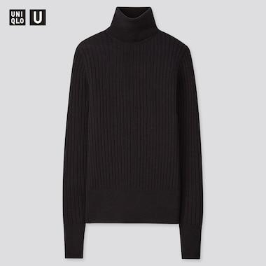 Women U Extra Fine Merino Ribbed Turtleneck Sweater, Black, Medium