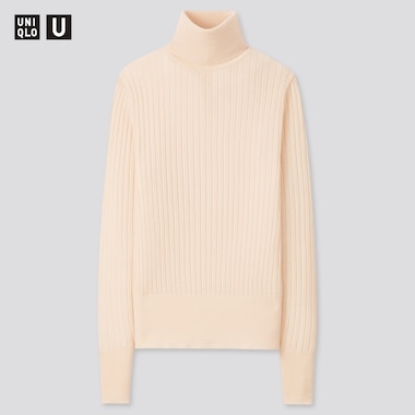 Women Uniqlo U Extra Fine Merino Ribbed Turtleneck Jumper