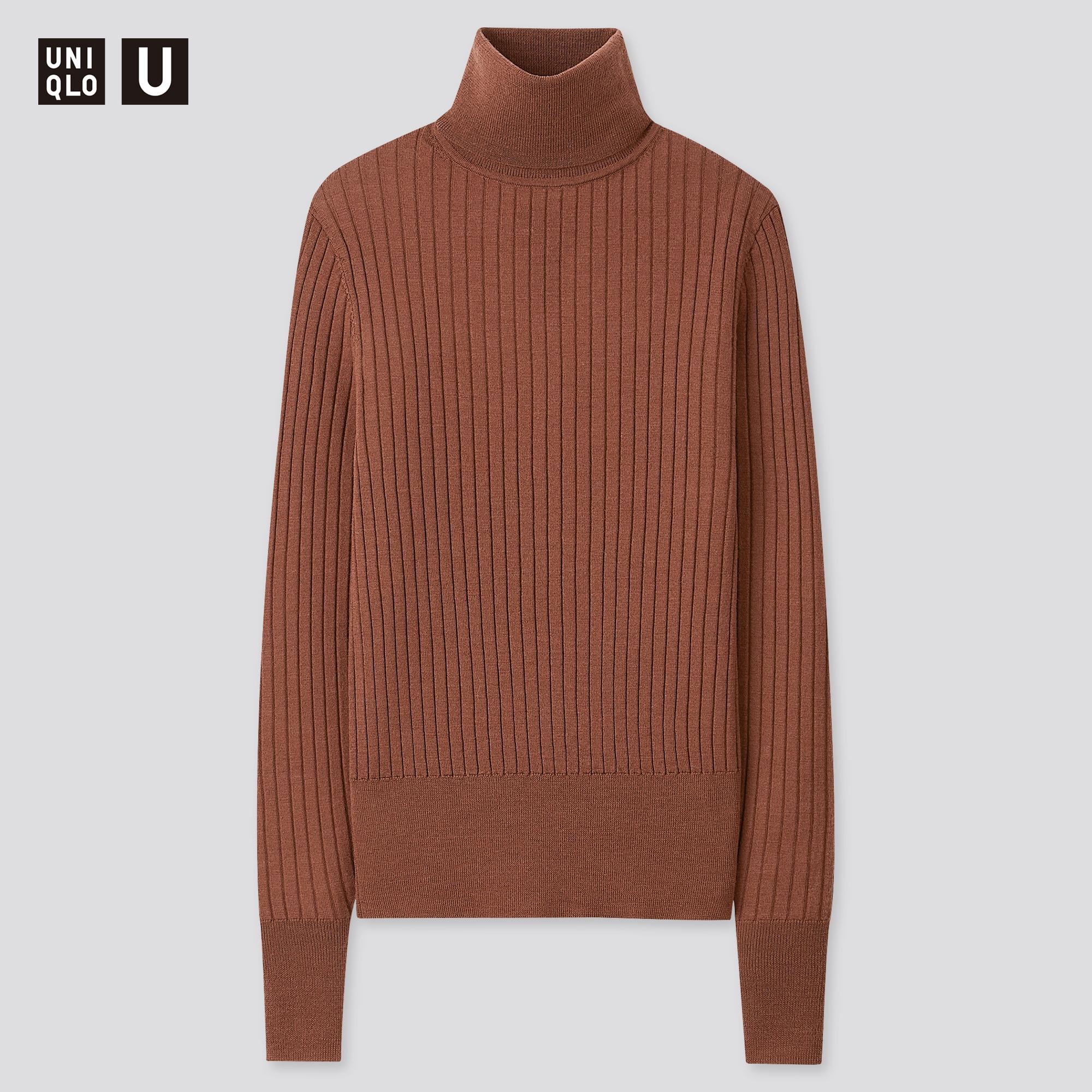 Women U Extra Fine Merino Ribbed Turtleneck Sweater Uniqlo Us
