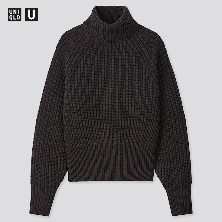 Women U Low Gauge Turtleneck Sweater, Black, Large