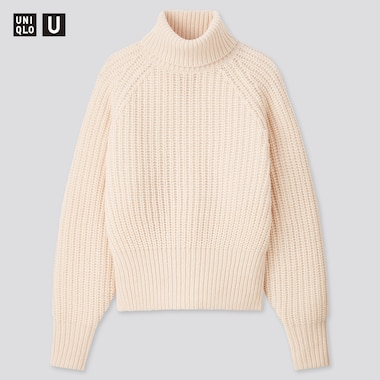Women U Low Gauge Turtleneck Sweater, Natural, Medium