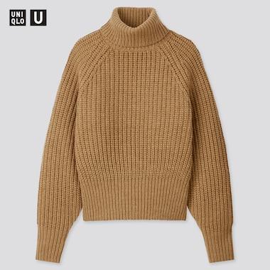 Women U Low Gauge Turtleneck Sweater, Brown, Medium
