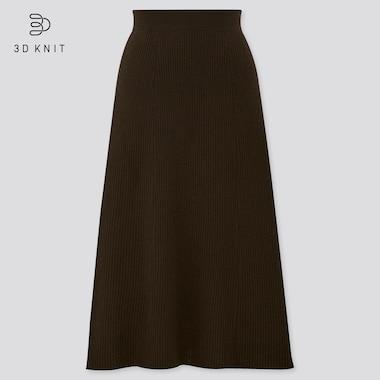 Women 3D Knit Extra Fine Merino Ribbed Flared Skirt