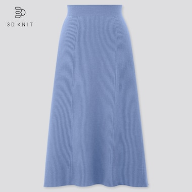Women 3D Knit Seamless Extra Fine Merino Ribbed Flared Skirt