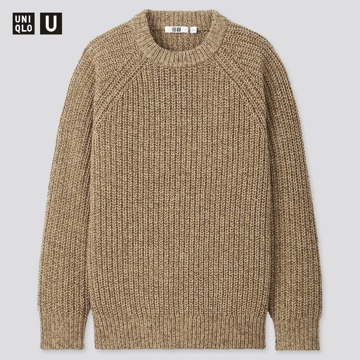 Men U Low Gauge Crew Neck Long-Sleeve Sweater, Beige, Large