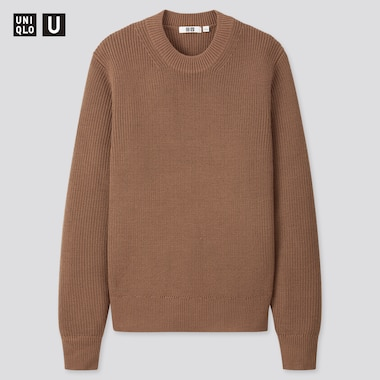 Men U Fisherman Ribbed Crew Neck Long-Sleeve Sweater, Dark Brown, Medium