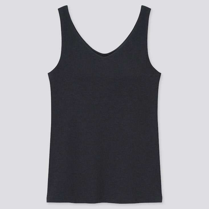 Women Airism Cotton Ribbed V-Neck Sleeveless Bra Top, Black, Large