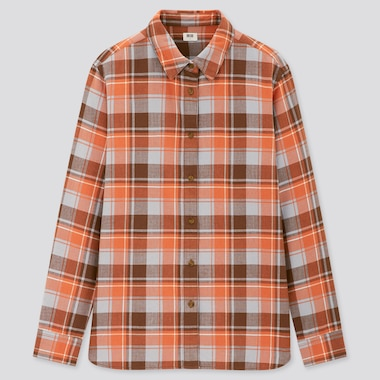 Women Flannel Checked Long-Sleeve Shirt, Orange, Medium