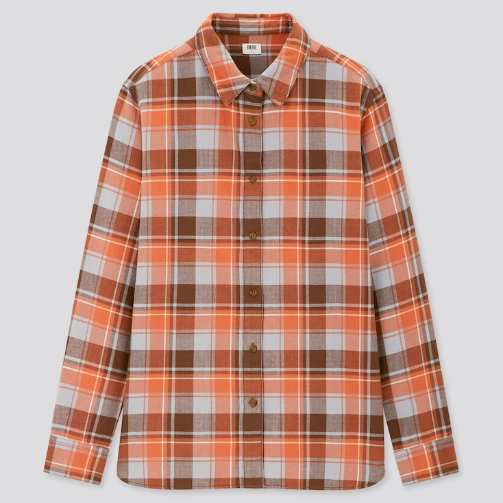 Women Flannel Checked Long-Sleeve Shirt, Orange, Large