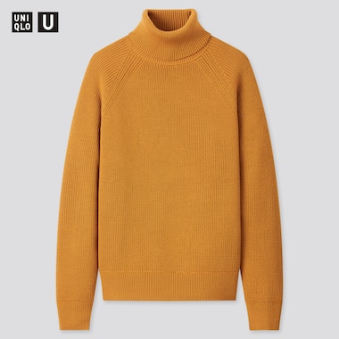 Men U Fisherman Ribbed Turtleneck Long-Sleeve Sweater, Mustard, Medium
