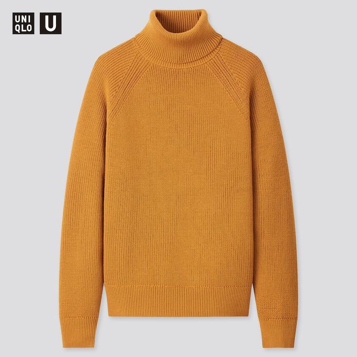 Men U Fisherman Ribbed Turtleneck Long-Sleeve Sweater, Mustard, Large