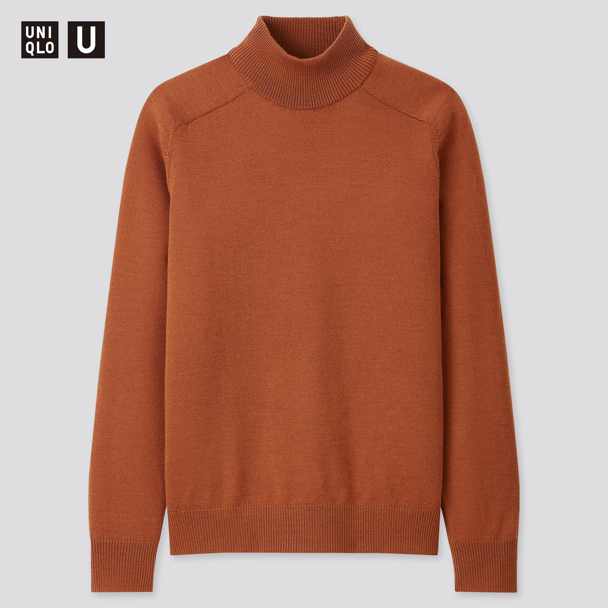 men u merino-blend mock-neck long-sleeve sweater