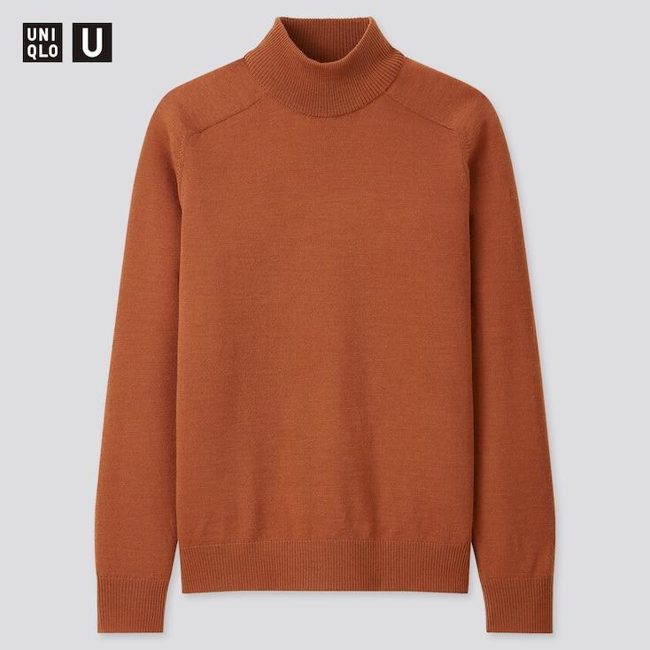 Men U Merino-Blend Mock-Neck Long-Sleeve Sweater, Brown, Large