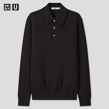 Men U Merino-Blend Long-Sleeve Polo Sweater, Black, Medium