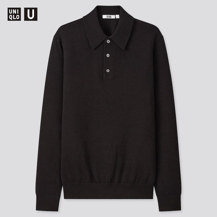 Men U Merino-Blend Long-Sleeve Polo Sweater, Black, Large
