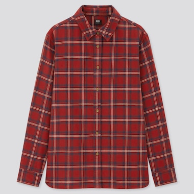 Women Flannel Checked Long Sleeved Shirt