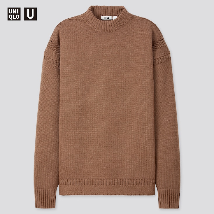 Men U Middle Gauge Mock-Neck Long-Sleeve Sweater, Dark Brown, Large