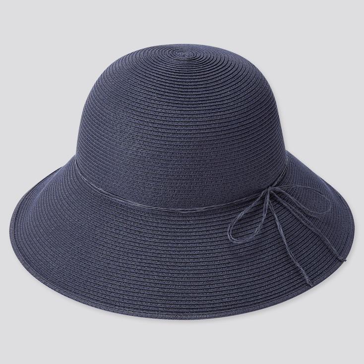 Women Uv Protection Adjustable Capeline Hat, Navy, Large