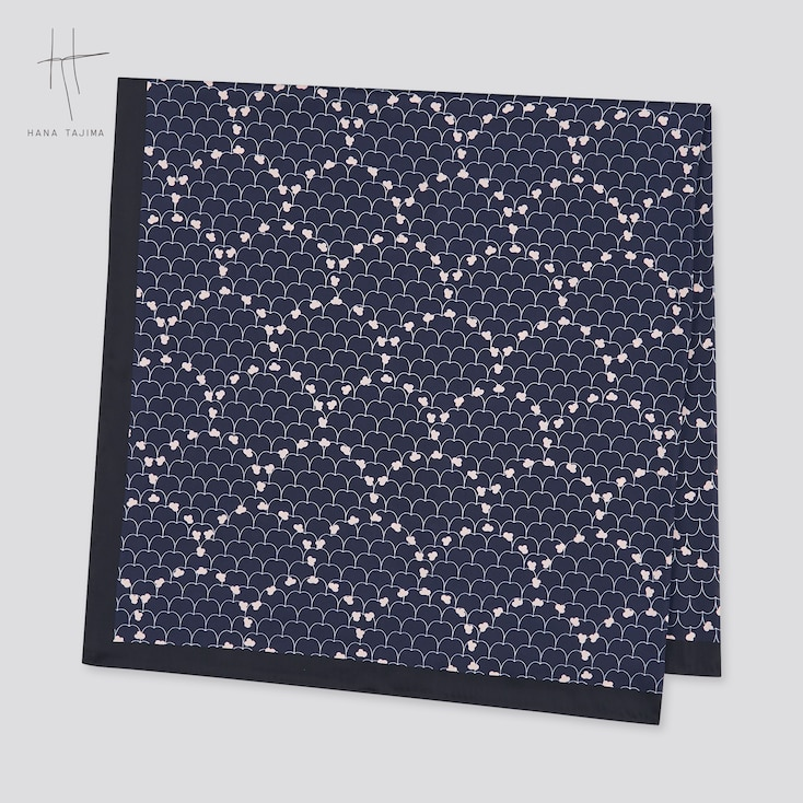 Women Printed Square Stole (Hana Tajima), Navy, Large