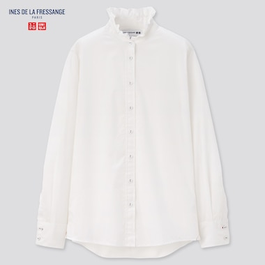 Women Ines Cotton Frilled Stand Collar Long Sleeved Shirt
