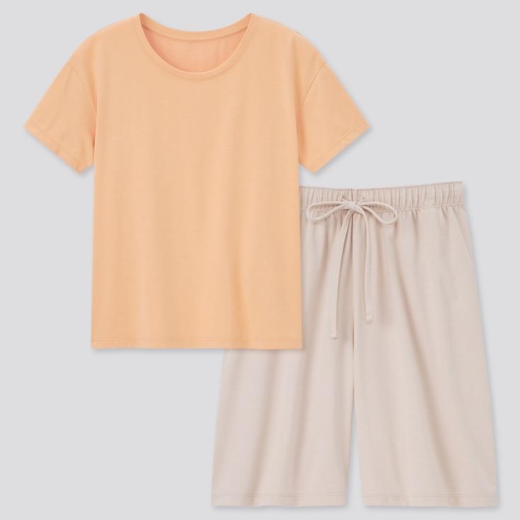 Women Airism Cotton Short-Sleeve Lounge Set, Orange, Large