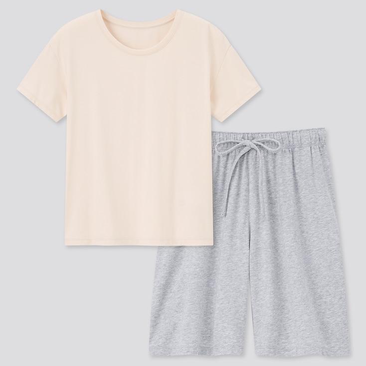 Women Airism Cotton Short-Sleeve Lounge Set, Beige, Large