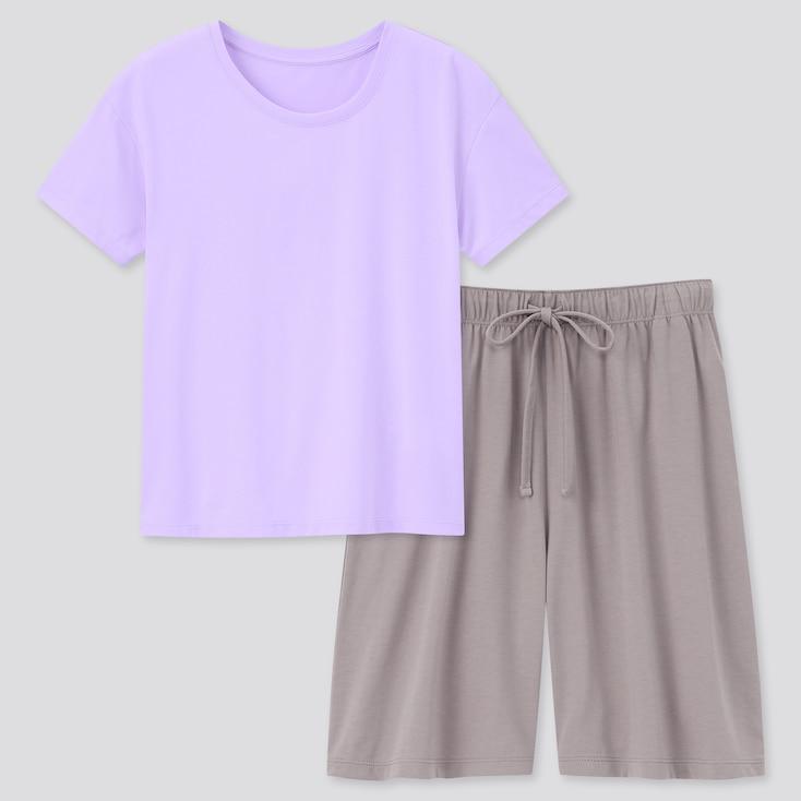 Women Airism Cotton Short-Sleeve Lounge Set, Light Purple, Large