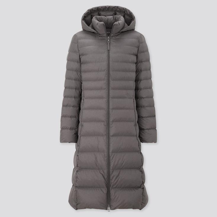 Women Ultra Light Down Long Coat, Gray, Large