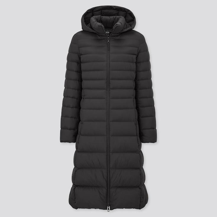 Women Ultra Light Down Long Coat, Black, Large