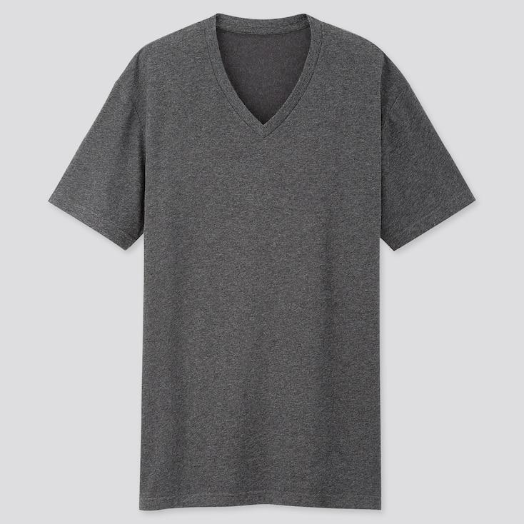 Men Dry V-Neck Short-Sleeve Color T-Shirt, Dark Gray, Large