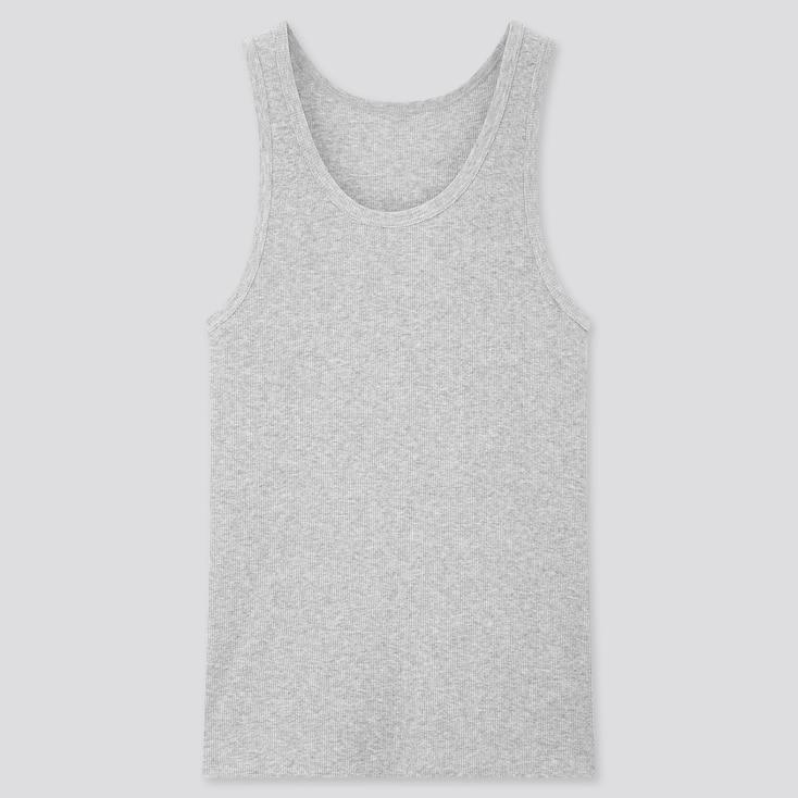 Men Dry Ribbed Tank Top, Gray, Large