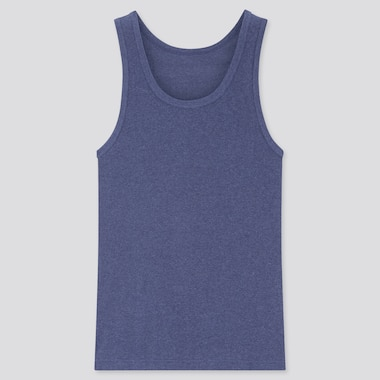 Men Dry Ribbed Tank Top, Blue, Medium