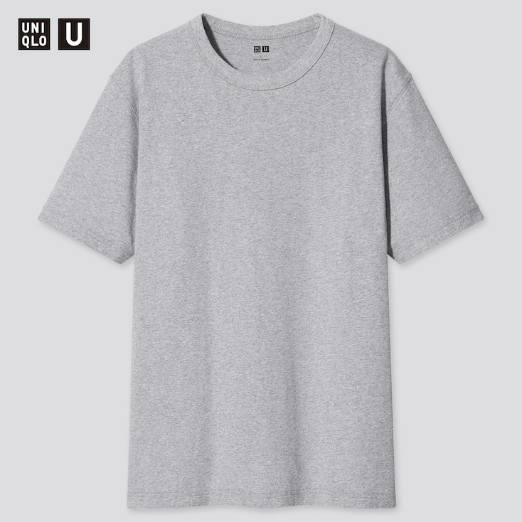 U Crew Neck Short-Sleeve T-Shirt, Light Gray, Large