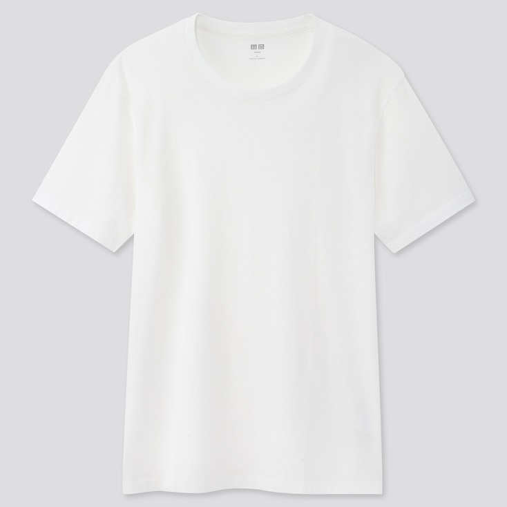 Men Supima Cotton Crew Neck Short-Sleeve T-Shirt, White, Large
