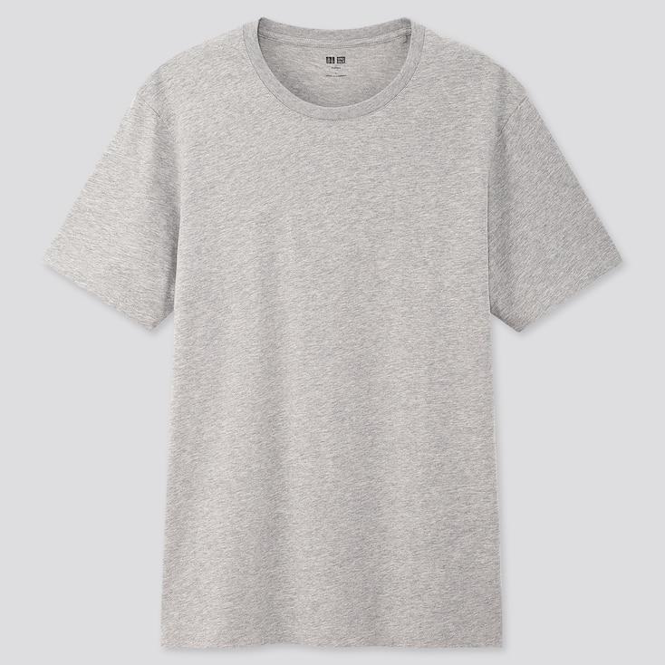 Men Supima© Cotton Crew Neck Short-Sleeve T-Shirt, Gray, Large