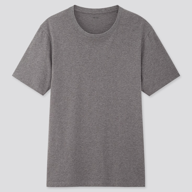 Men Supima Cotton Crew Neck Short-Sleeve T-Shirt, Dark Gray, Large