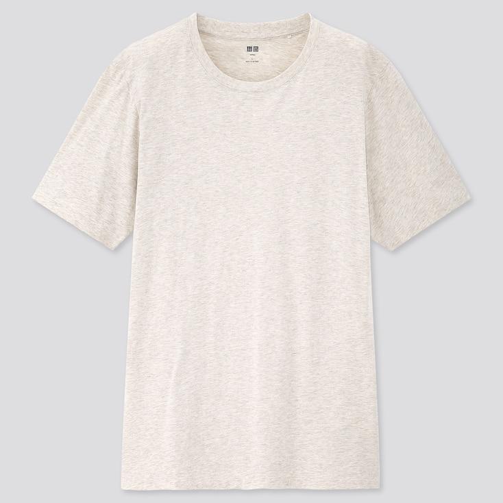 Men Supima Cotton Crew Neck Short-Sleeve T-Shirt, Beige, Large