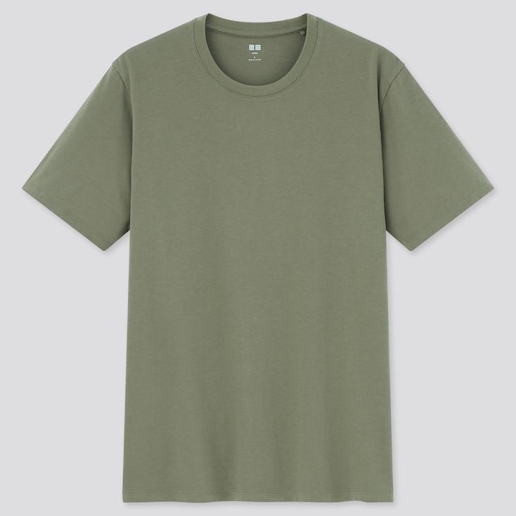 Men Supima Cotton Crew Neck Short-Sleeve T-Shirt, Olive, Large