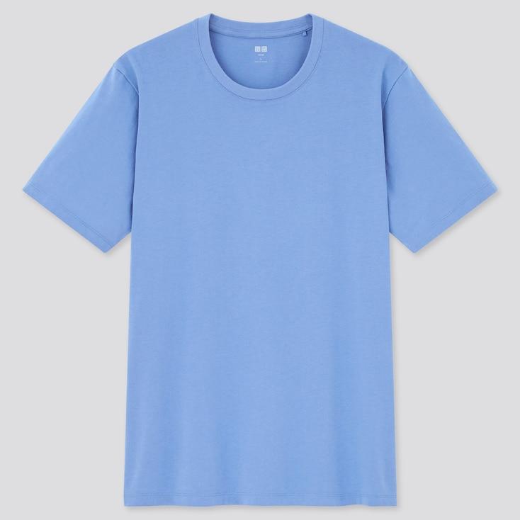 Men Supima Cotton Crew Neck Short-Sleeve T-Shirt, Blue, Large