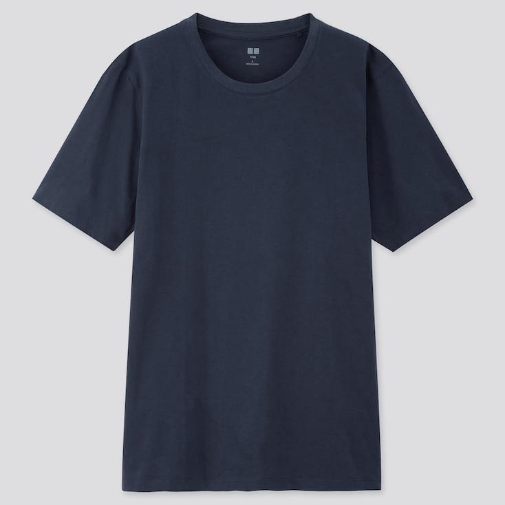 Men Supima Cotton Crew Neck Short-Sleeve T-Shirt, Navy, Large