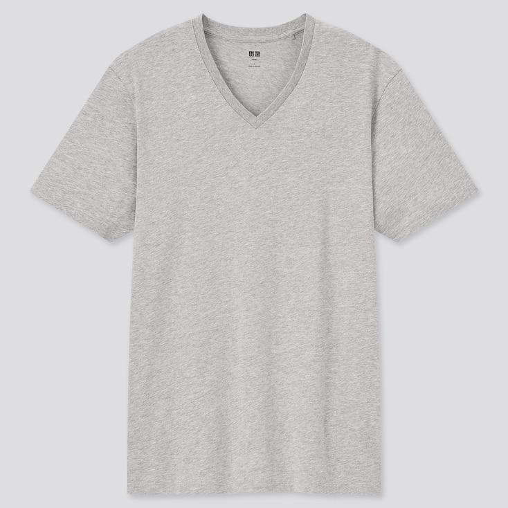 Men Supima Cotton V-Neck Short-Sleeve T-Shirt, Gray, Large