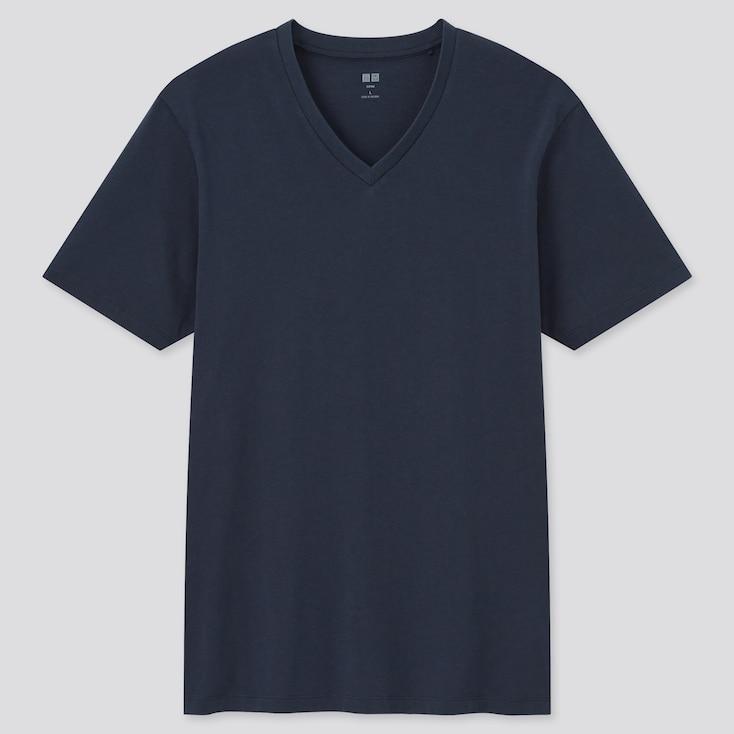 Men Supima Cotton V-Neck Short-Sleeve T-Shirt, Navy, Large