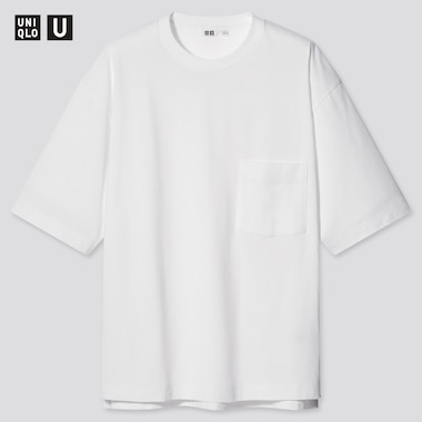 Men U Oversized Crew Neck Short-Sleeve T-Shirt, White, Medium